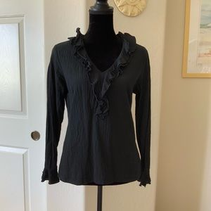 Harlow Gauze Black Ruffle V neck Top Size L